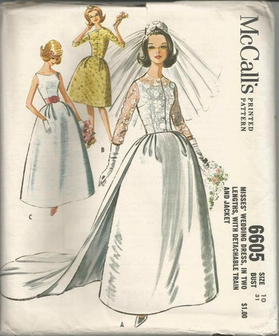 1960s Wedding Gown Detachable Train Dance Prom Evening Gown Sleeveless Scoop Neckline McCall's 6605 Uncut FF Bust 31 Women's Vintage Sewing Pattern