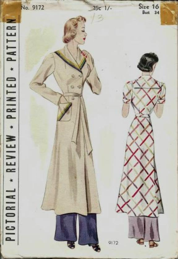 1930s Robe Housecoat Sailor Collar Double Breasted Sleeve Variations Pictorial Review 9172 Unused FF Bust 34 Women's Vintage Sewing Pattern - Kinseysue's Shop