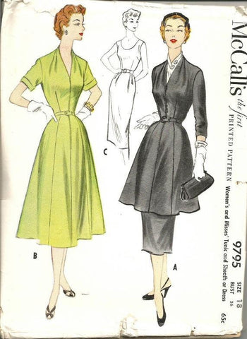 1950s Fit & Flare Tunic or Dress Cocktail Dinner Dance McCall's 9795 Uncut FF Bust 36  Neck Sleeve Variations Women's Vintage Sewing Pattern