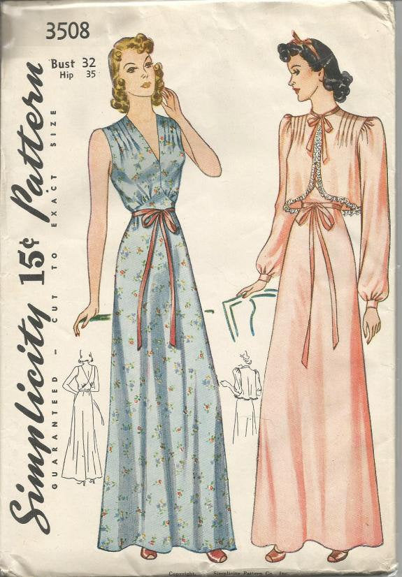 1940s Lingerie Trousseau Nightgown & Bed Jacket Pin Tucks Lingerie Pattern Simplicity 3508 Bust 32 Unused FF Womens Vintage Sewing Pattern