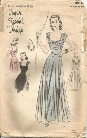 1940s Evening or Wedding Gown Drop Waist Full Skirt Vogue S-4446 Bust 32