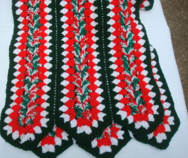 "Retro Kitschy Christmas Crocheted Shawl Afghan Throw Table Decor 15"" x 72"" Christmas Decor Christmas Table Christmas Decoration Table Topper"