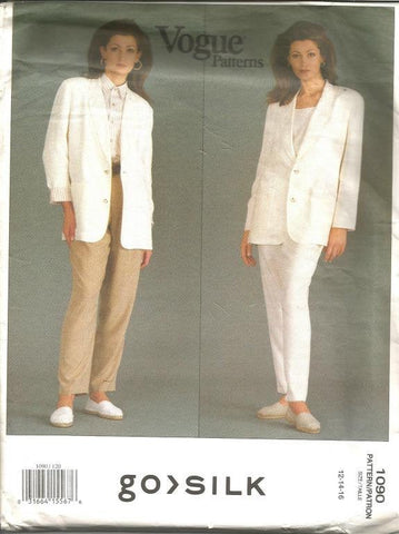 1990s Pants Suit Tapered Pants and Loose Fitting Jacket Vogue 1090 Uncut FF Sizes 12-14-16 Bust 34-36-38 Women's Vintage Sewing Pattern