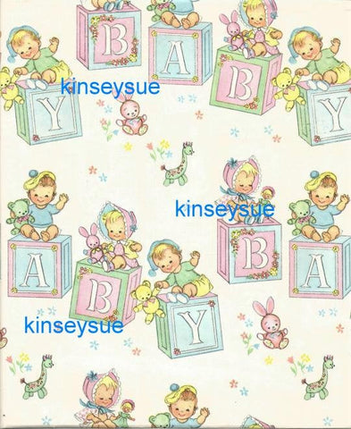 Vintage Baby Gift Wrap Boy or Girl Baby Shower circa 1950s - 1960s One Flat Sheet Alphabet Blocks