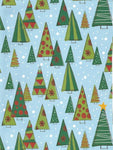 Christmas Wrapping Paper Gift Wrap Retro Christmas Trees on Blue with Snowflakes One Sheet