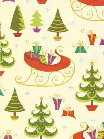 Christmas Wrapping Paper Gift Wrap Christmas Trees Sleigh Presents One Sheet