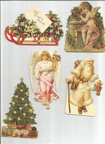 Christmas Gift Cards Victorian Charms Five Unused No Envelopes Glossy Finish Christmas Gift Tags Vintage Gift Tags
