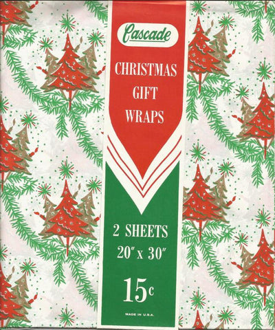Vintage 1950s Christmas Wrapping Paper Christmas Gift Wrap NOS Christmas Trees Unused Vintage Paper Cascade Vintage Christmas Decor