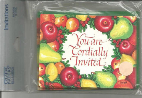 Dinner Invitations by Gibson New in Package Eight Invitations with Envelopes Thanksgiving Dinner Wine Tasting Party