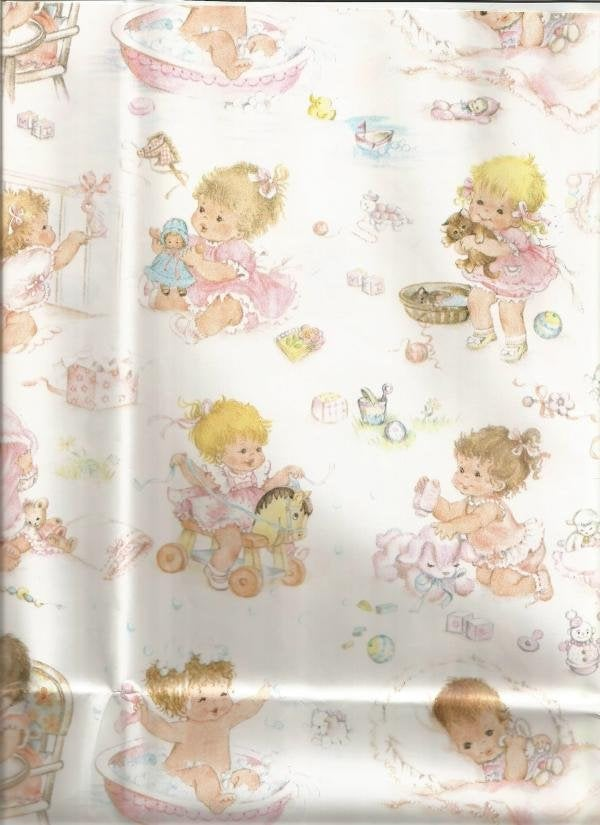 Vintage 1980s Baby Gift Wrap Baby Girl  Baby Shower Wrapping Paper New Baby Baby Shower Decor