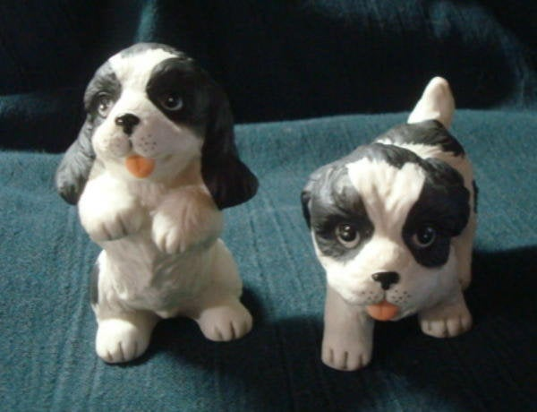 Vintage Puppies Figurines Homco Made in Taiwan Dog Figurine Puppy Figurine Spaniels Set of 2 Puppies Dog Lover Gift Puppy Lover Gift