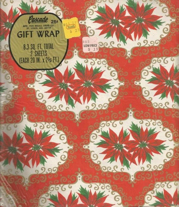 Vintage Christmas Wrapping Paper Gift Wrap Vintage Christmas Gift Wrap Cascade for Rexall Drugs Poinsettias