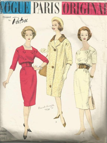 1950s Slim Dress and Coat Vogue Paris Original Vogue 1461 Patou Bust 32 C/C