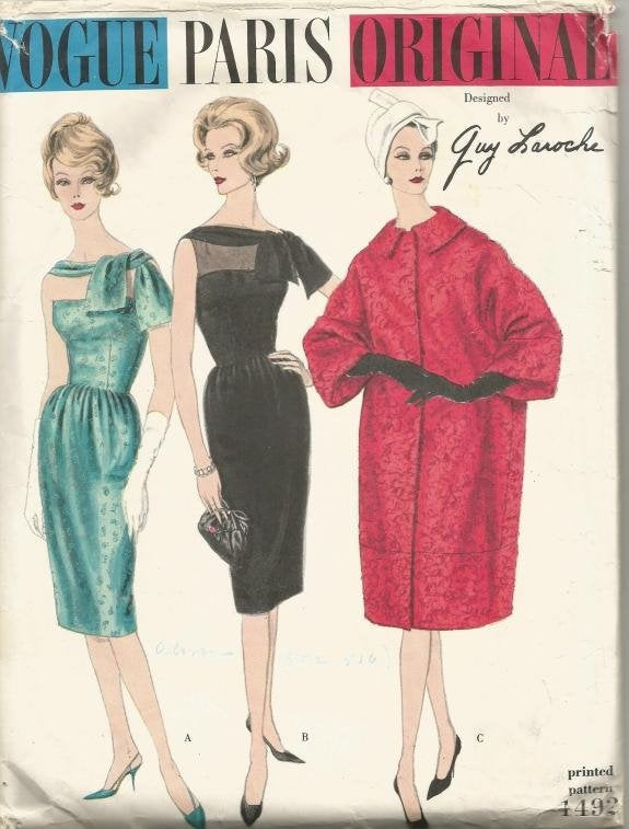 1960s Sleeveless Sheath Cocktail Dress with Low Back & Over Sized Coat Vogue 1492 Guy Laroche Size 12 Bust 32 Women's Vintage Sewing Pattern