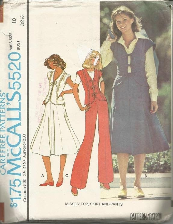 1970s Gored Skirt Cap Sleeve Top with V Neck and Tie Closing Pants Simplicity 5520 Uncut FF Size 10 Bust 32.5 Women's Vintage Sewing Pattern