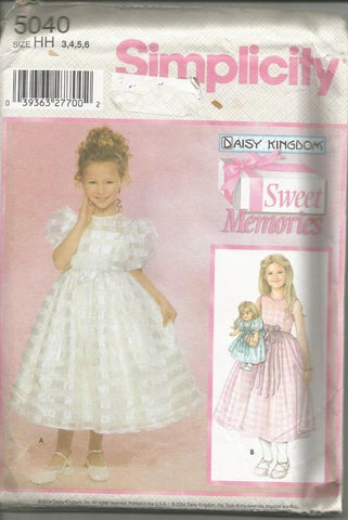 Girls' Full Skirted Dress and Doll Dress Sleeveless Puff Sleeves Daisy Kingdom Simplicity 5040 Size 3-4-5-6 Uncut FF Girls' Sewing Pattern