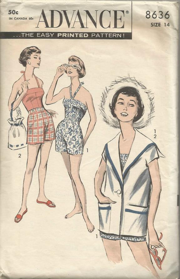 1950s Sexy Bra Top Shorts Jacket Sports Separates Advance 8636 Size 14 Bust 34 Women's Vintage Sewing Pattern