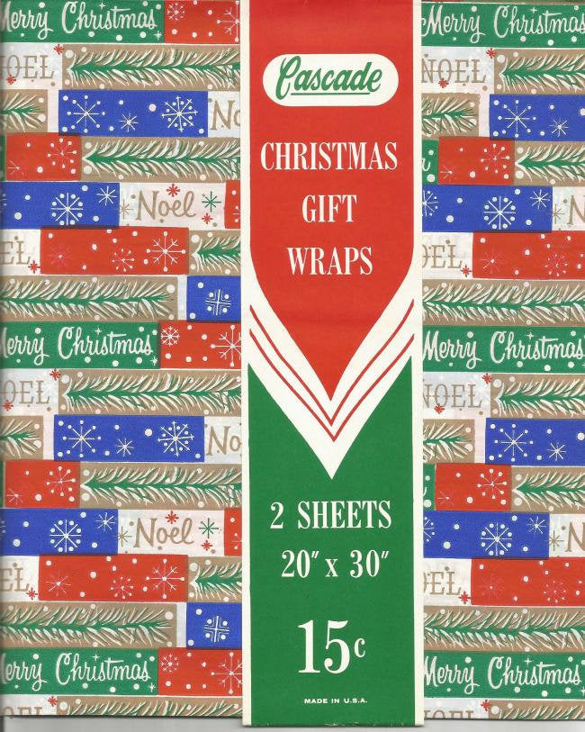 Vintage 1950s Christmas Wrapping Paper Christmas Gift Wrap NOS Merry Christmas Noel Unused Vintage Paper Cascade Vintage Christmas Decor