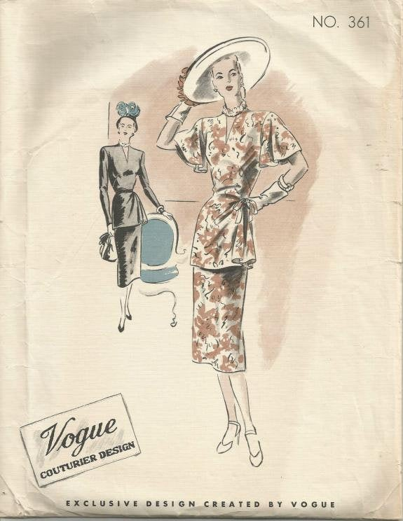 1940s Vogue Two Piece Dress Draped Skirt V Neck Vogue Couturier Design 361 with Label Size 16 Bust 34 Womens Vintage Sewing Pattern