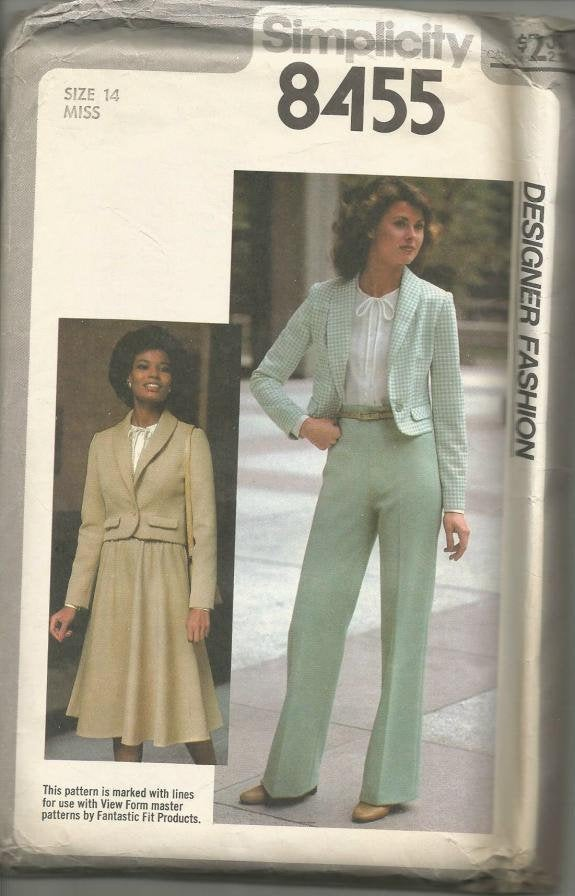 1970s Cropped Jacket Bias Skirt Long Sleeve Blouse Pants Simplicity 8455 Uncut FF Size 14 Bust 36 Women's Vintage Sewing Pattern