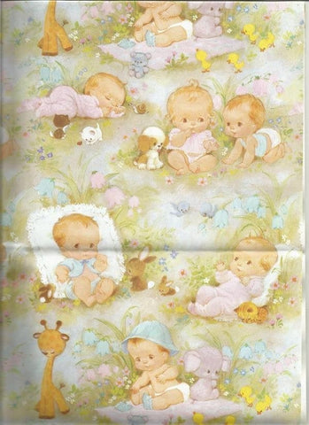 Vintage 1980s Baby Gift Wrap Boy or Girl Twins with Stuffed Animals Baby Shower Wrapping Paper