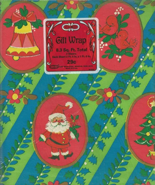 Vintage Christmas Wrapping Paper Gift Wrap Vintage Christmas Gift Wrap Cleo Christmas Tree Santa Bell Colorful Paper