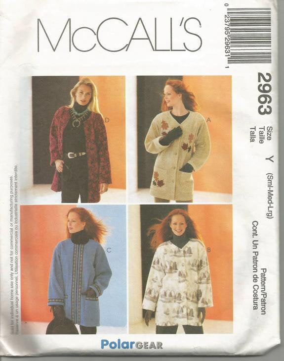 Women's Jacket Pattern Unlined Oversized McCall's 2963 Uncut FF Size S - M - L Bust 31.5 - 40 Inches Women's Sewing Pattern