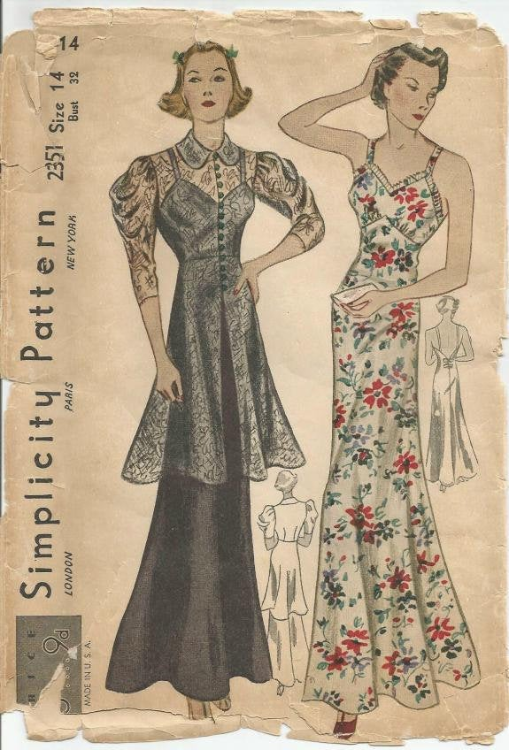 1930s Sexy Backless Evening Gown and Jacket Simplicity 2351 Bust 32 Unused FF Women's Vintage Sewing Pattern - Kinseysue's Shop