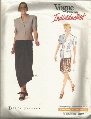 1980s Wrap Skirt in 2 Lengths & Short Sleeve Top Betty Jackson Vogue 2312 Partially Cut Women's Vintage Sewing Pattern