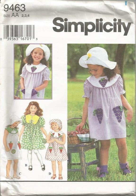Toddler and Little Girl  Hat and Dress w/Length, Collar and Sleeve Variations Simplicity 9463 Uncut FF Sz 2,3,4 Girls Vintage Sewing Pattern