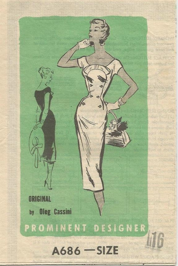 1950s Cocktail Sheath Dress Bombshell Dress Oleg Cassini Prominent Designer A686 Bust 34 Women's Vintage Sewing Pattern