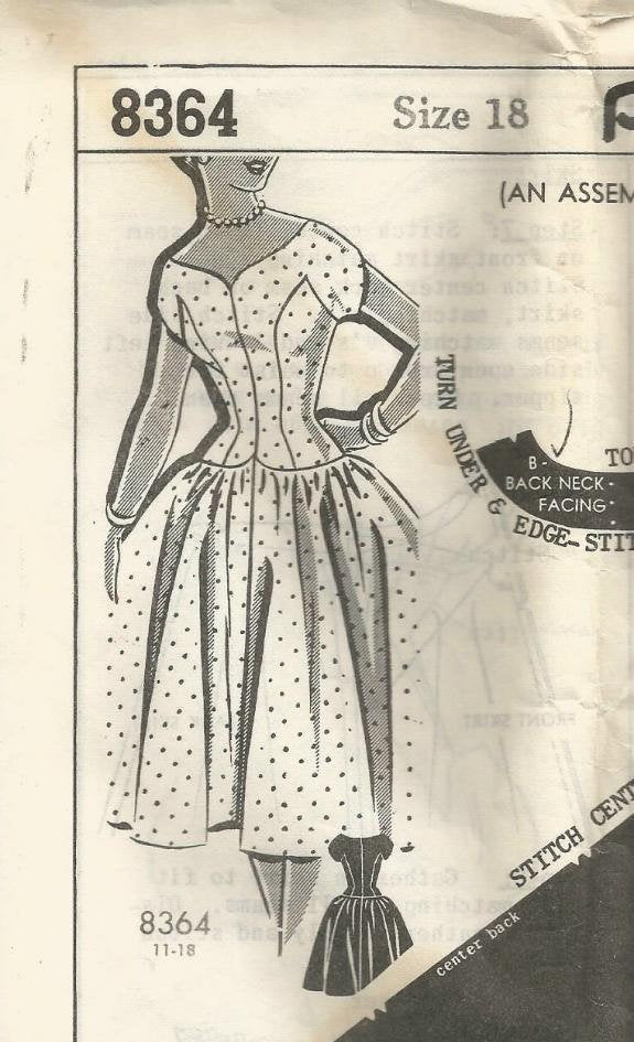 1950s Fit and Flare Cocktail Dress Drop Waist Princess Seams Cap Sleeves PattORama 8364 Bust 36 Women's Vintage Sewing Pattern