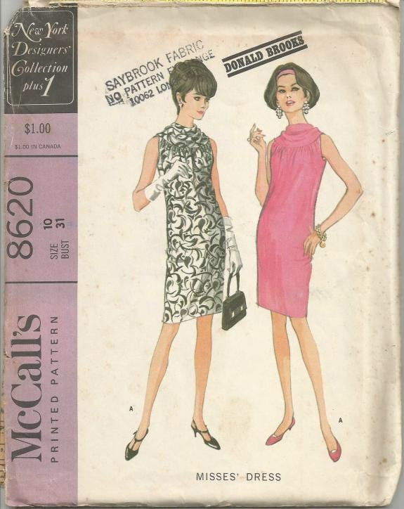 1960s Sleeveless Shift Dress Cowl Neck McCall's 8620 Uncut FF Size 10 Bust 31 Women's Vintage Sewing Pattern