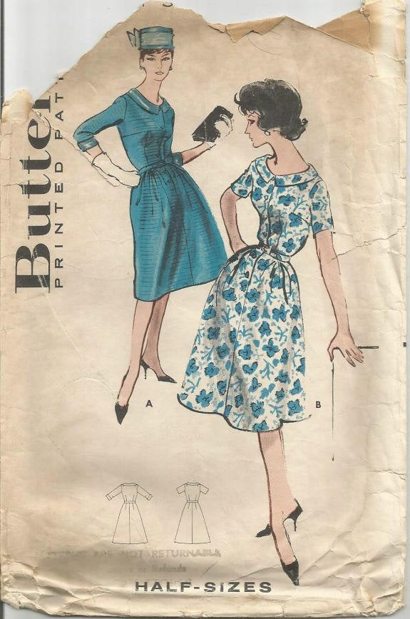 1960s Scoop Neck Dress Short or 3/4 Sleeves Shirtwaist Butterick 9038 Size 16.5 Bust 37 Women's Vintage Sewing Pattern