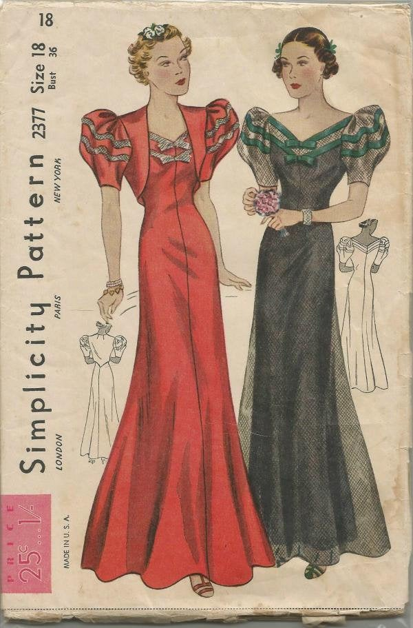 1930s RARE Evening Dress Evening Gown with Bolero V Neck Short Sleeves Bias Cut Simplicity 2377 FF Bust 36 Women's Vintage Sewing Pattern - Kinseysue's Shop
