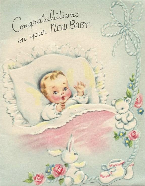 Vintage Congratulations on your New Baby Greeting Card Used No Envelope Inventory 16