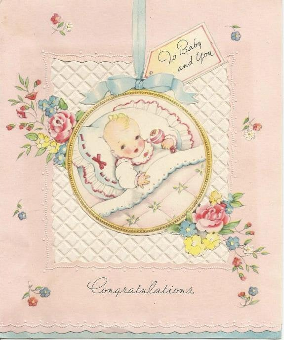 Vintage Congratulations to Baby and You Greeting Card Used No Envelope Inventory 4