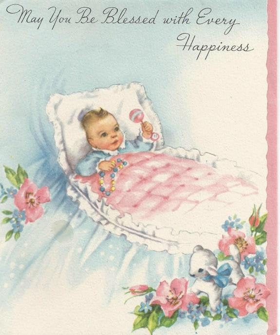 Vintage 1950s New Baby Greeting Card May You Be Blessed with Every Happiness Used No Envelope