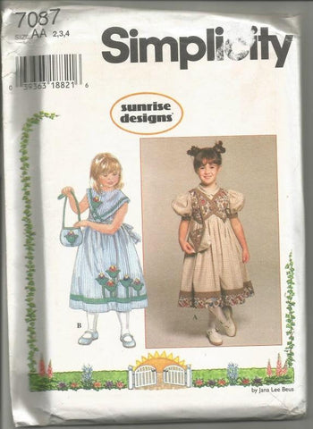 1990s Girls Dress and Purse Sleeveless Short Puff Sleeves Simplicity 7087 Uncut FF Sizes 2 - 3 -4 Girls Vintage Sewing Pattern