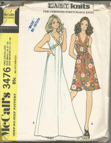1970s Sleeveless Evening or Day Dress For Knits Only McCall's 3476 Uncut Bust 30.5 - 38 Women's Vintage Sewing Pattern
