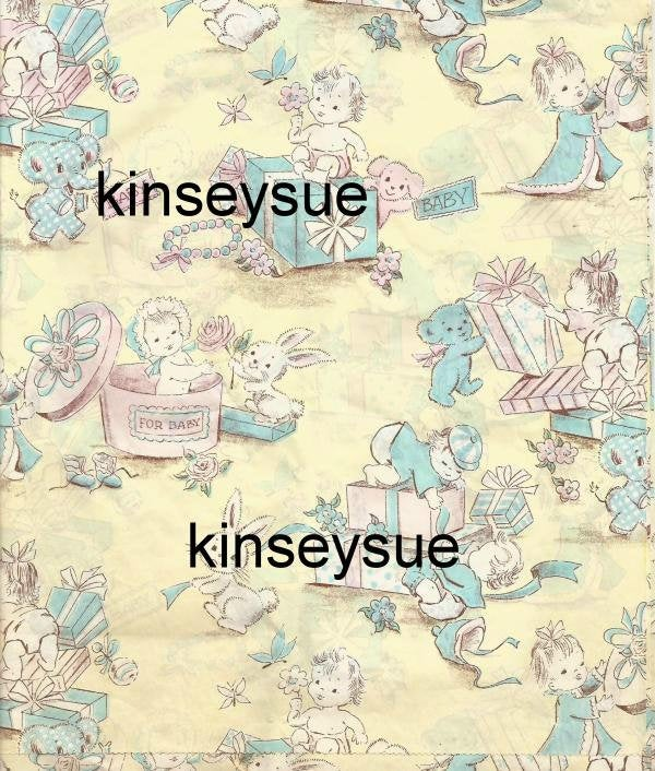 Vintage Baby Shower Gift Wrap Boy or Girl Babies with Gifts for Baby One Flat Sheet 1940s?