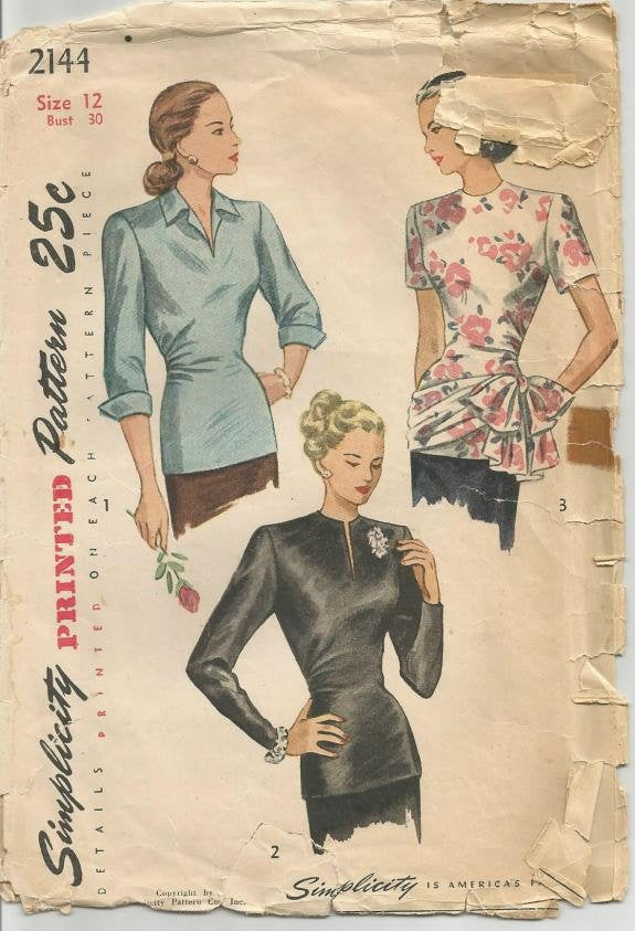 1940s Blouses Three Styles Long Torso Blouses Simplicity 2144 Bust 30 Women's Vintage Sewing Pattern - Kinseysue's Shop