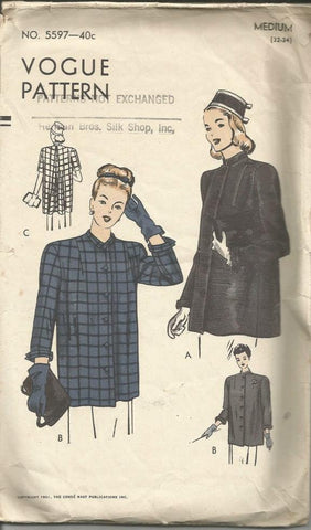 1950s  Swing Jacket or Maternity Smock Sleeve Variations Vogue 5597 Bust 32 - 34 Women's Vintage Sewing Pattern