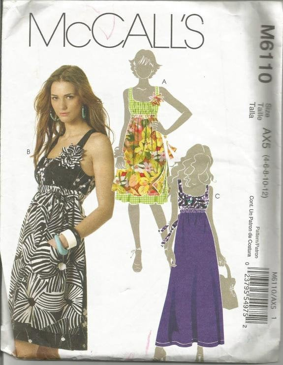 Misses' Sundress in Two Lengths Summer Dress Low Neckline Sleeveless McCall's 6110 Uncut FF sizes 4 - 12 Bust 29.5 - 34 Women's Sewing Pattern