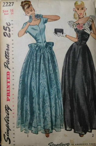 1940s Fit and Flare Evening Dress and Mitts Drop Waist Sleeveless or Short Sleeves Simplicity 2227 Bust 34 Women's Vintage Sewing Pattern