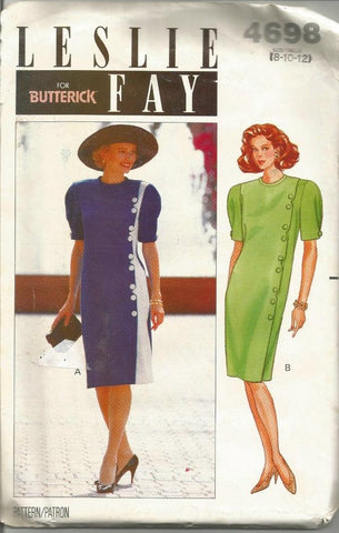 1990s Short Sleeve Straight Easy to Sew Dress Leslie Fay Butterick 4698 Uncut FF Size 8-10-12 Women's Vintage Sewing Pattern