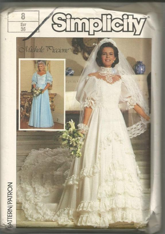 1980s Off Shoulder Evening Wedding Bridesmaid Prom Full Skirt Dress Simplicity 7259 Uncut FF Size 8 Bust 31.5 Women's Vintage Sewing Pattern