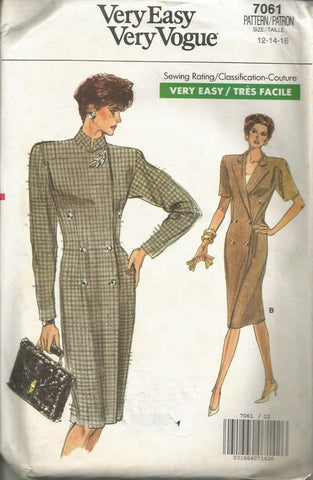 1980s Slim Coat Dress Double Breasted Short Sleeves Long Sleeves Easy to Sew Vogue 7061 Uncut FF Sz 12-14-16 Women's Vintage Sewing Pattern