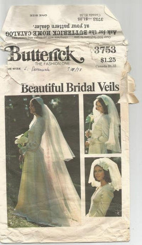 1970s Bridal Veils Bride Hairpieces Juliet Cap Bow Flowered Headband Butterick 3753 Women's Vintage Sewing Pattern