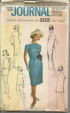 1960s Dress Tunic Top or Tunic Inches - Off Pattern Ladies' Home Journal for Sego Diet Food Uncut FF Bust 36 Womens Vintage Sewing Pattern